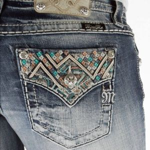 Turquoise & pink Miss Me boot stretch jeans BNWOT